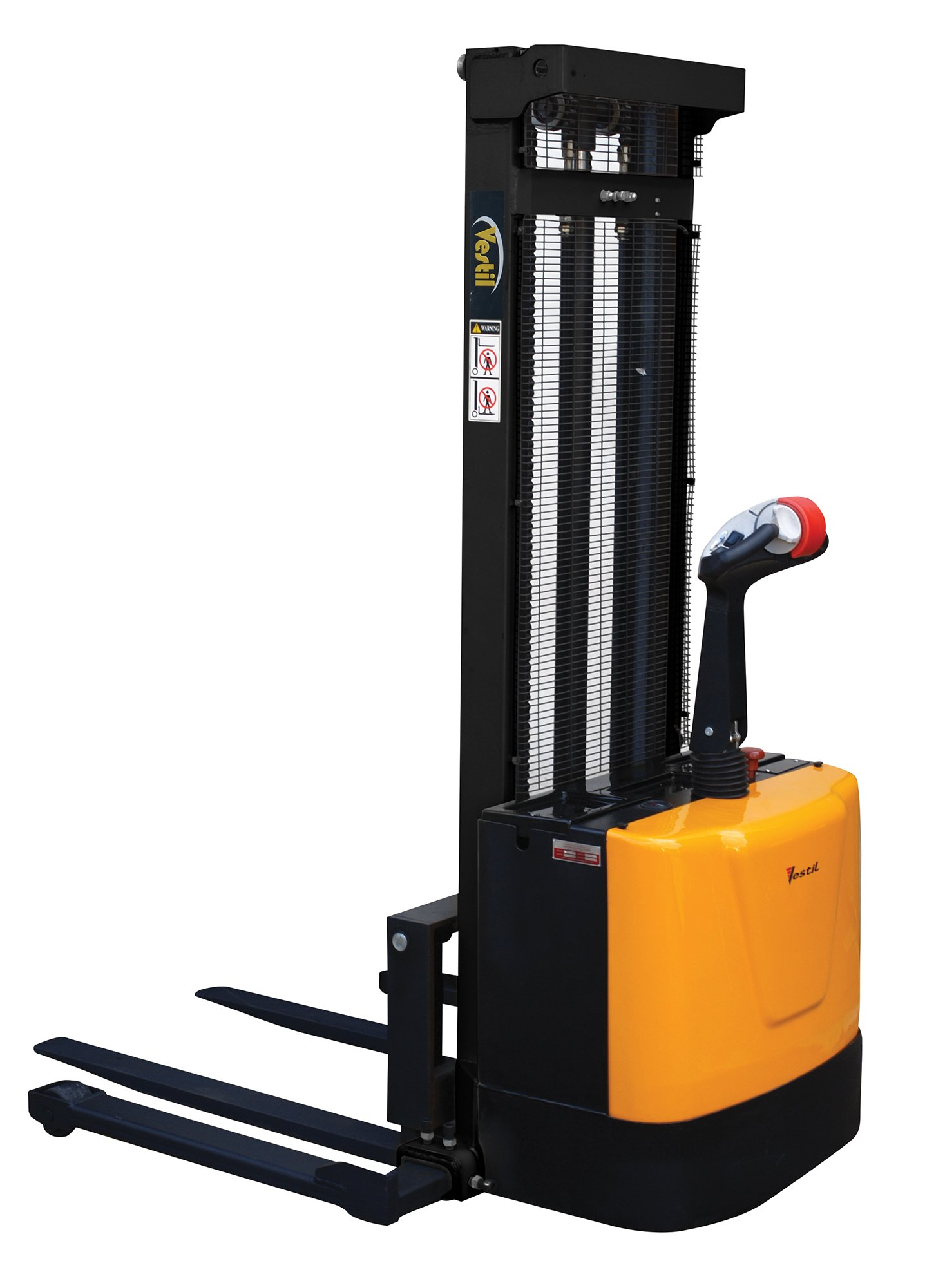 Vestil S-118-AA Powered Drive and Powered Lift Stacker with Adjustable Forks and Support Legs, 2-1/4''-118'' Height Range, 42'' Length x 26-3/4'' Width Fork by Vestil