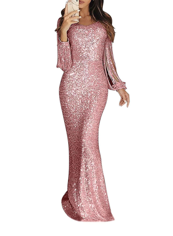 Minetom Damen Festlich Hochzeit Kleider Gl/änzend Pailletten Elegant Lang Abendkleid Langarm Quaste Cocktailkleid Maxikleid Partykleid