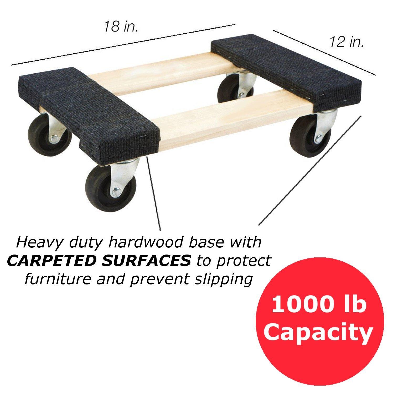Plataforma con ruedas piano Dolly. Mini rodillo compacto Dolly para mover muebles. Medidas de la superficie enrollada: 30,5 x 45,7 cm.