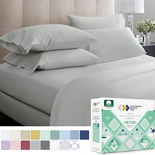 Fit Up to 12-Inch-Deep Pocket 100/% Cotton 600 TC 4 Piece Premium Sheet Set Queen, Sage Stripe 1 Fitted Sheet, 1 Flat Sheet and 2 Pillowcases