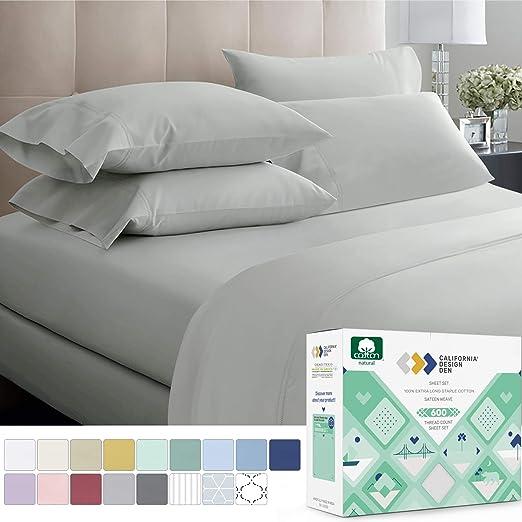 Soft /& Silky Sateen Weave Long Staple Combed Pure Natural Cotton Bedsheet 500 Thread Count 100/% Cotton Sheet Set 3 Pieces Sheet Set Dark Grey, TwinXL