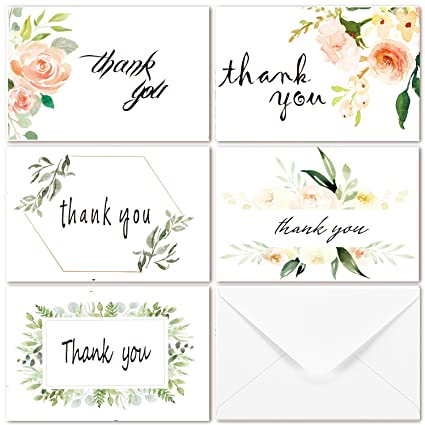 Amazon Com 40 Multi Pack Greenery Floral Thank You Cards 5