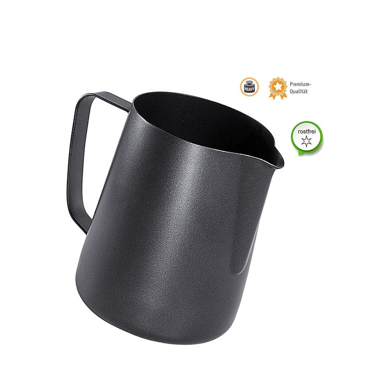 Black Barista Sahnek/ännchen Milchk/ännchen Aufsch/äumer Milchkanne K/ännchen aus Edelstahl 0,60 Liter Kerafactum/®