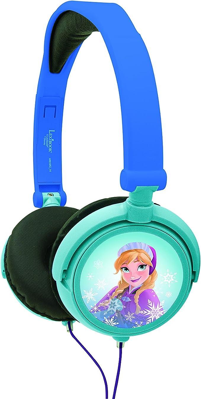 Lexibook Disney Frozen Die Eiskönigin Elsa Stereokopfhörer, kinderfreundliche Kraft, faltbar und einstellbar, Blau Schwarz, HP010FZ