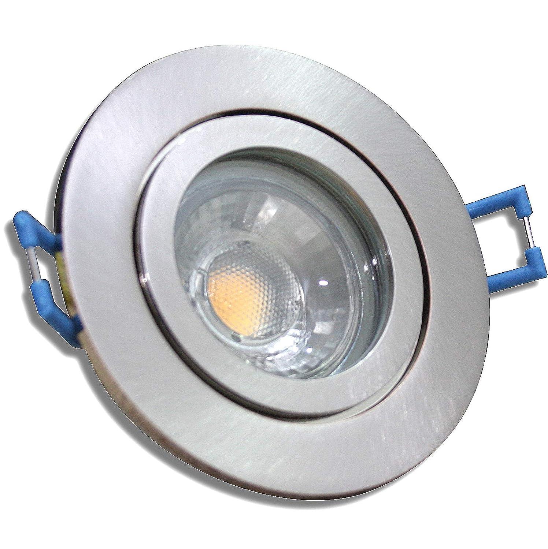 6 Stück IP44 MCOB LED Bad Einbaustrahler Aqua 12 Volt 3 Watt Rund Eisen geb.   Warmweiß