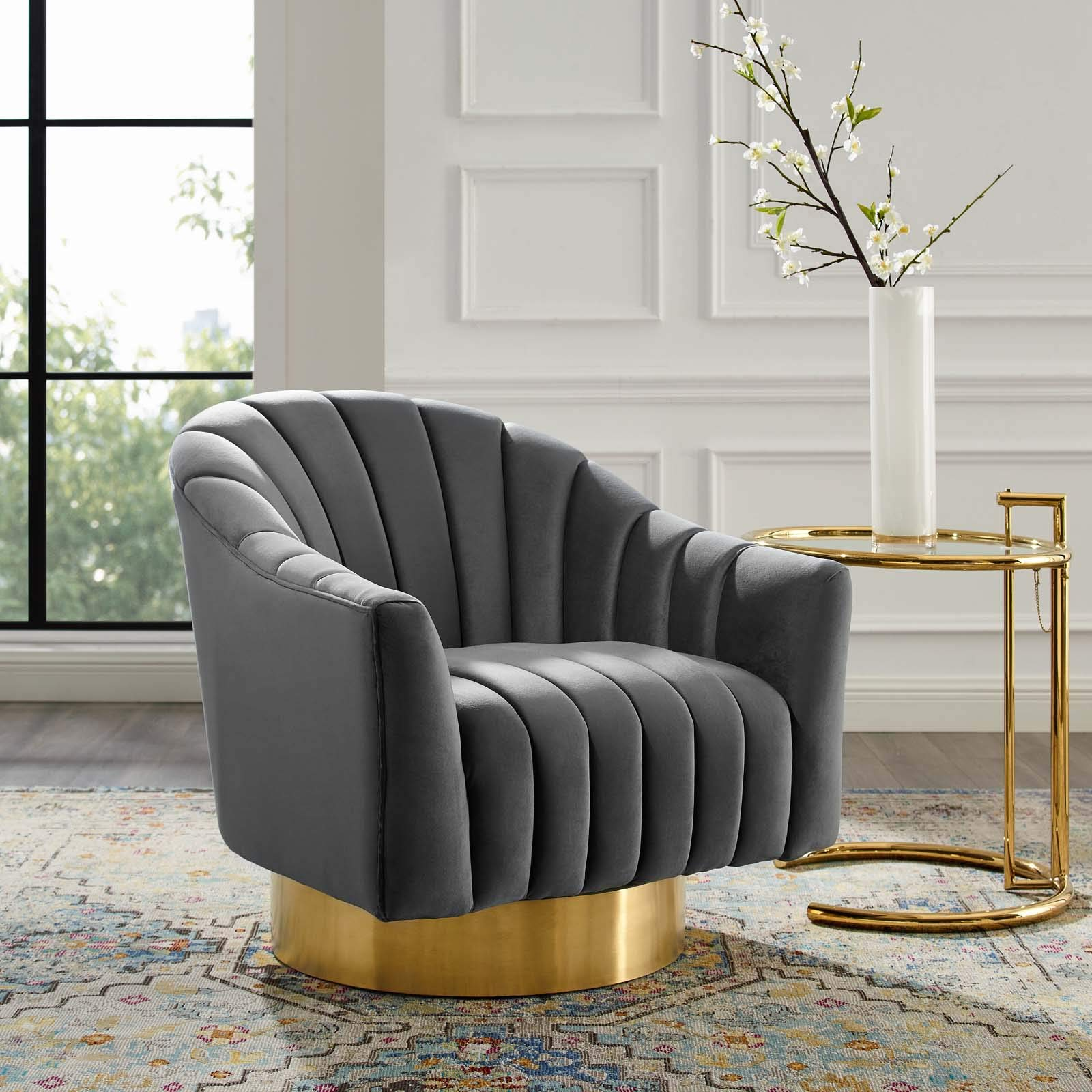 Brilliant Details About Luxury Channel Tufted Velvet Accent Lounge Living Room Swivel Chair In Gray Beatyapartments Chair Design Images Beatyapartmentscom