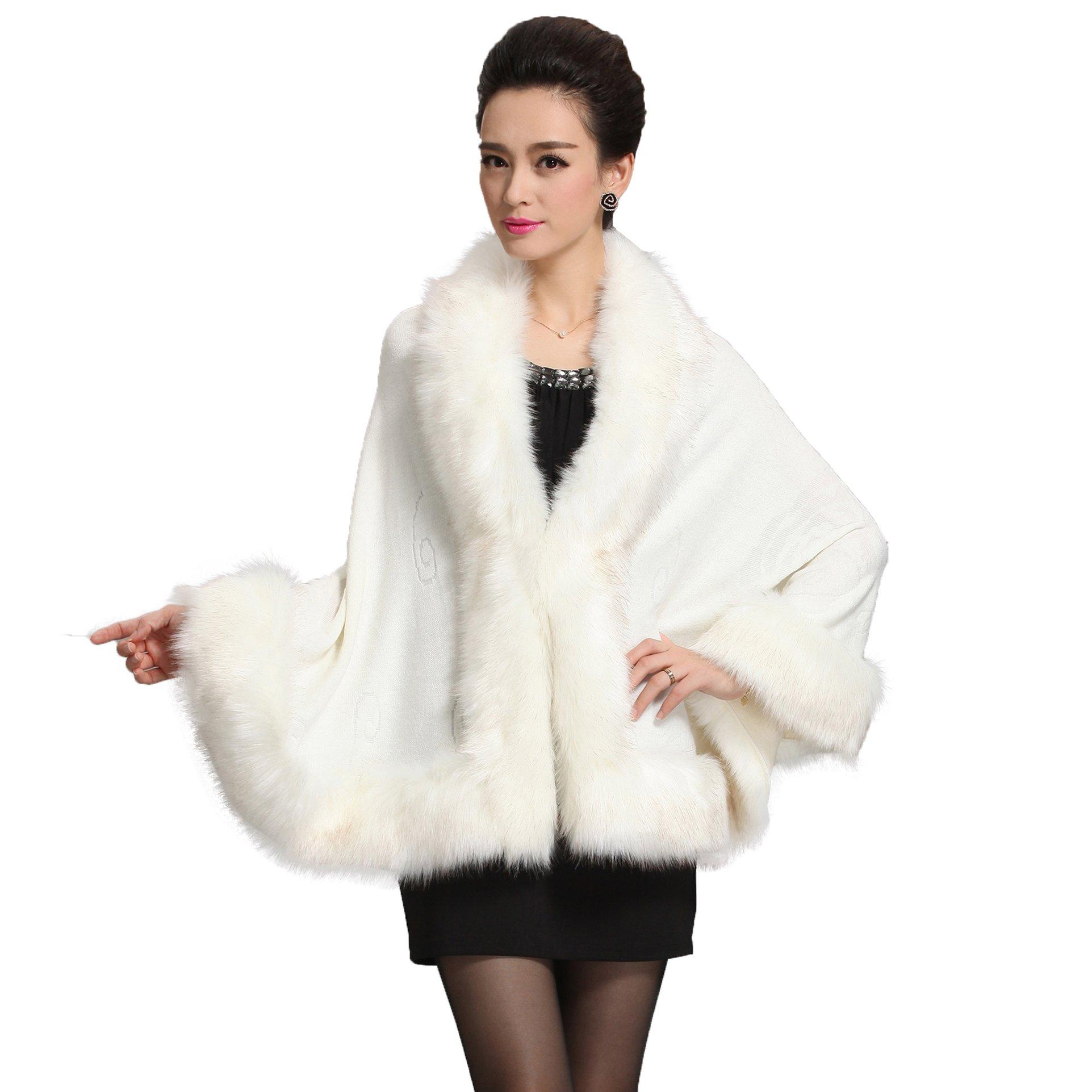 Caracilia Women Bridal Faux Fur Shawl Wraps Cloak Coat Sweater,White,One Size