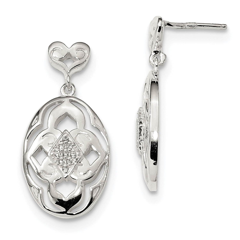 925 Sterling Silver CZ Open Oval Post Earrings