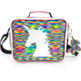 JYPS Insulated Unicorn Lunch Box for Kids, Flip Sequin Girls Tote Lunch Bags with Shoulder Strap, Handheld Reusable Lunch Box Bags for Girls at School