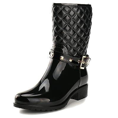 Alexis Leroy Women Checkered Diamond Pattern Studded Adjustable-Strap Warm-Keeping Rain Boots Black 39 M EU / 8-8.5 B(M) US | Rain Footwear