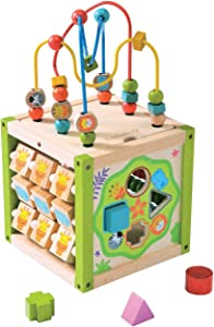 EverEarth My First Activity Cube. Wood Shape Sorter, Bead Maze & Counting Baby Toy