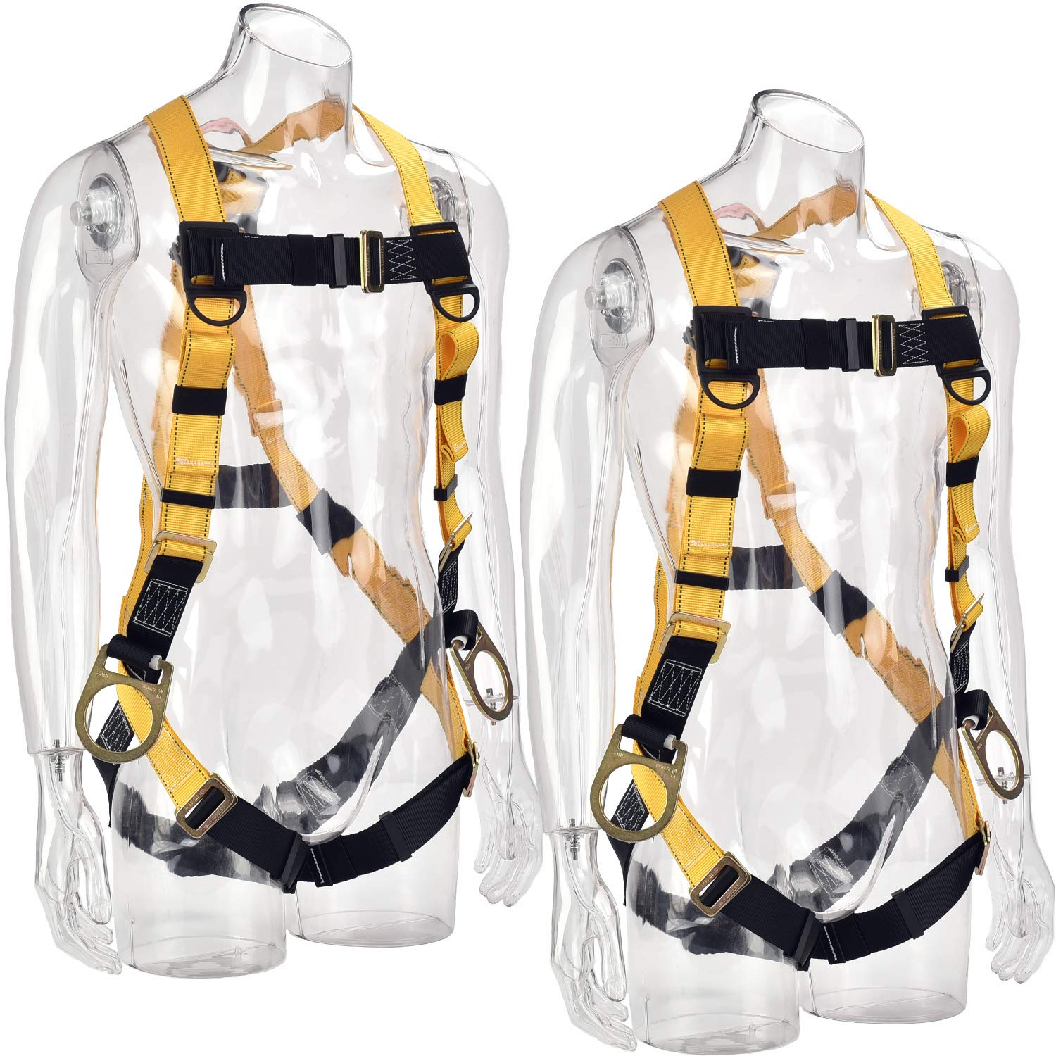 WELKFORDER [2-PACK] 3D-Rings Industrial Fall Protection Full Body Safety Harness ANSI Certified Personal Protection Equipment