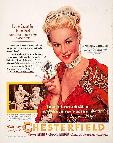 1951 Ad Chesterfield Cigarettes Virginia Mayo Captain Horatio