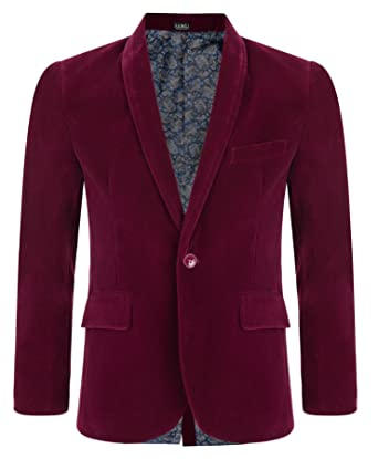 cecd4099a Amazon.com: Boys Kids Velvet Blazer Jacket Burgandy Wine Maroon 1-15 ...