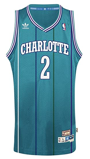 68dab8444d9 adidas Charlotte Hornets #2 Larry Johnson NBA Soul Swingman Jersey, Teal,  Size: