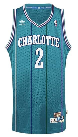 808913935 adidas Charlotte Hornets #2 Larry Johnson NBA Soul Swingman Jersey, Teal,  Size: