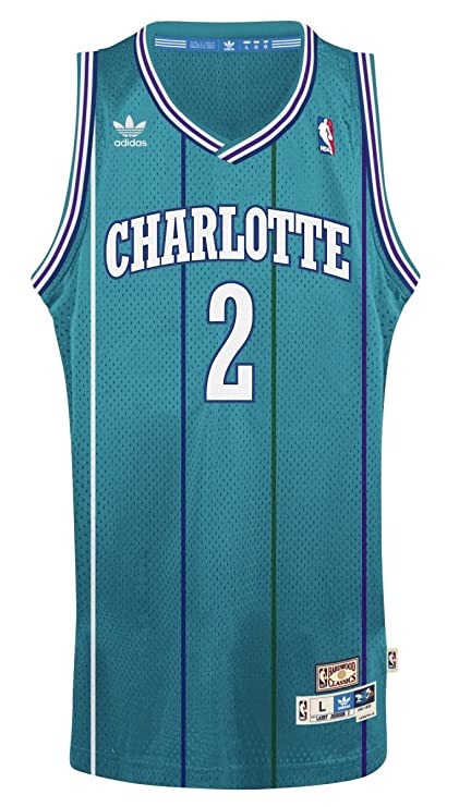 393817da7 Amazon.com : adidas Charlotte Hornets #2 Larry Johnson NBA Soul Swingman  Jersey, Teal : Clothing