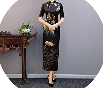 3989235b30 Black Vintage Print Fl Chinese Wedding National Formal Dress Fe Long  Cheongsam Plus Size XXXXL