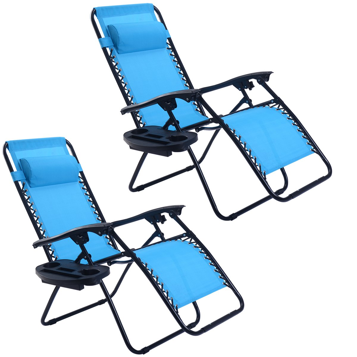 Goplus Zero Gravity Chairs, Lounge Patio, Folding Recliner, Outdoor Yard Beach with Cup Holder, Light Blue, 2 Piece
