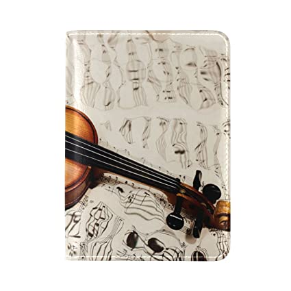 Amazon com | ALAZA Old Violin Music Note Leather Passport
