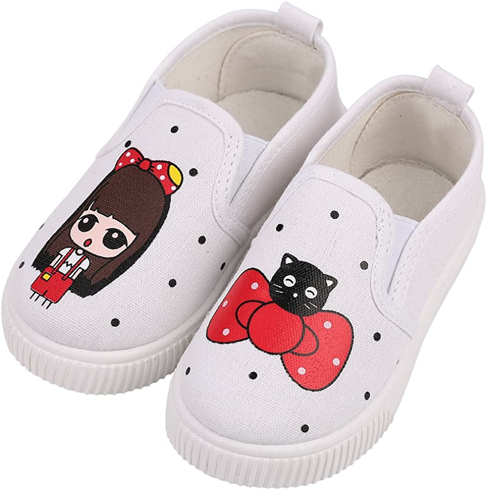 Robasiom Prewalker Baby Girls Sweet Canvas Sneaker Anti-Skid Soft Shoes Trainer Printed Childrens Shoes Loafers Shoes For Girls,White,Toddler 8.5 M