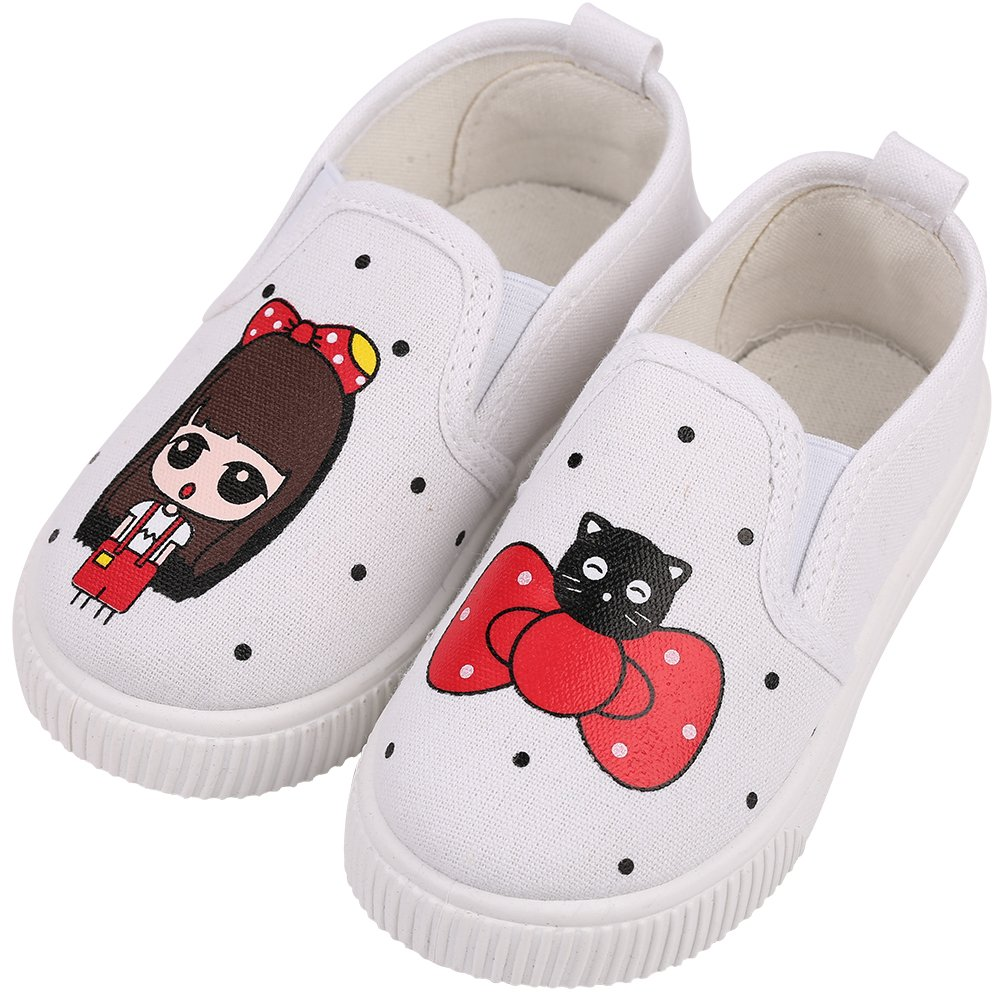 Robasiom Prewalker Baby Girls Sweet Canvas Sneaker Anti-Skid Soft Shoes Trainer Printed Children's Shoes Loafers Shoes For Girls,White,Toddler 8.5 M