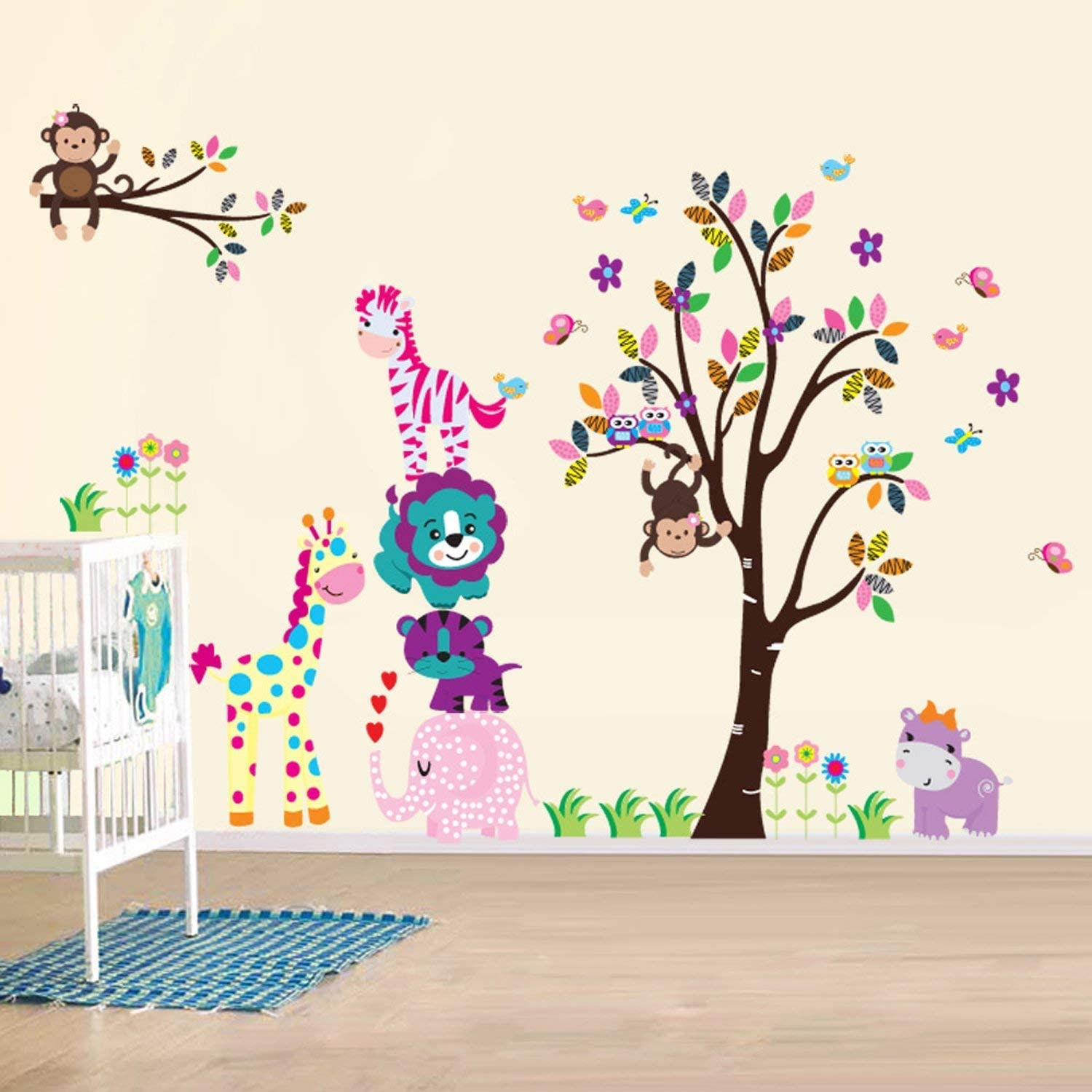 Animals Mirror Wall Sticker Art Mural Decal Home Room Decor Removable DIY c