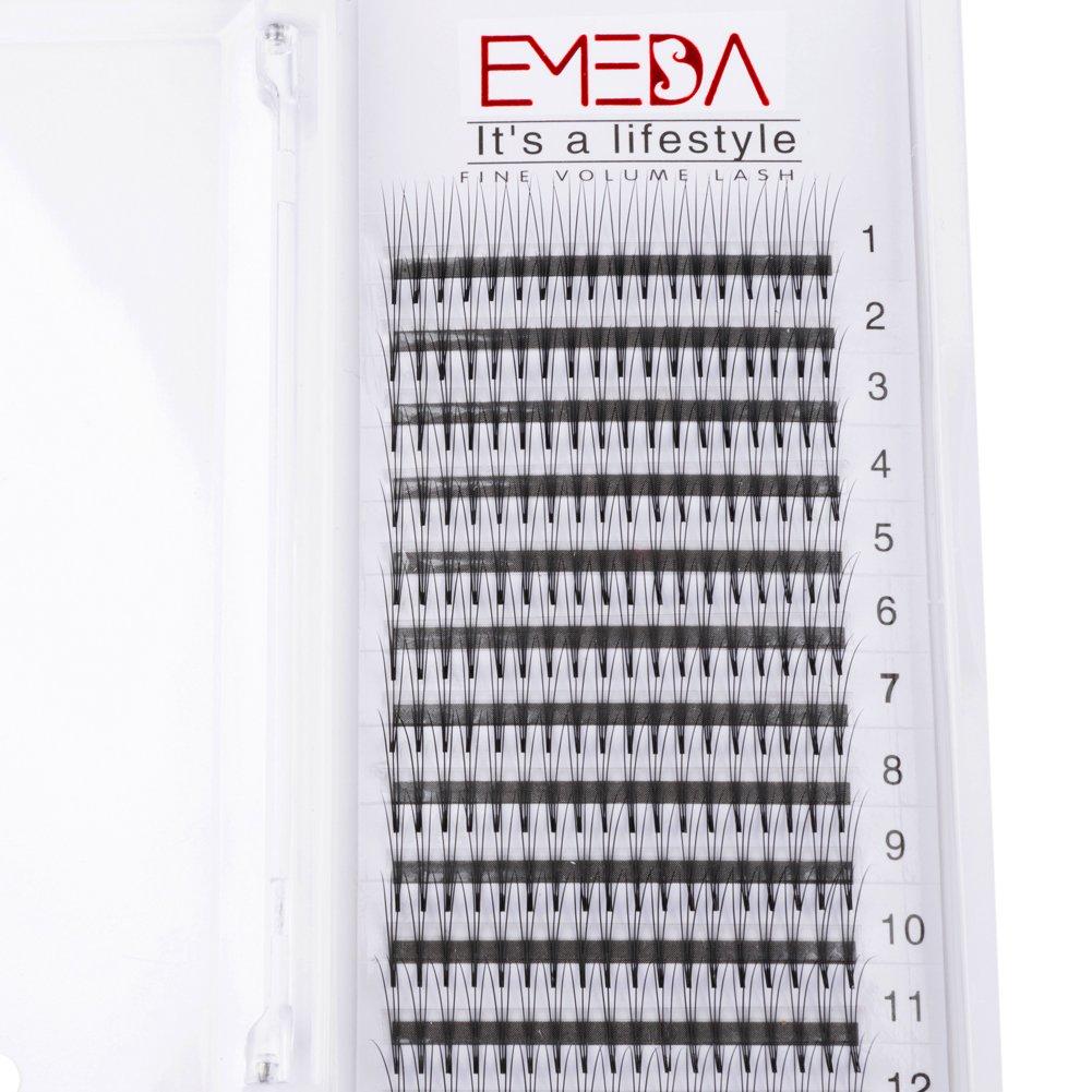 abc2f9eb2e4 EMEDA Premade Volume fans Individual Eyelashes 3D W Volume Cluster Eyelash  Extension False Eyelashes 0.15 C Curl 12 14MM 2 Trays: Amazon.co.uk: Beauty