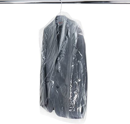 50X Clear Polythene Garment Suit Cover Plastic Dry Cleaner Clothes Dress Bag
