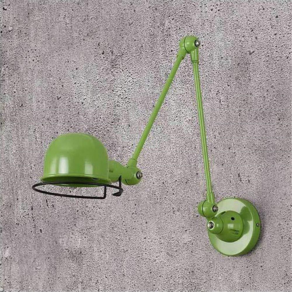 Modernes Design Loft Vintage Industrielle Jielde Lange Arm Verstellbare Wandleuchte Reminisce Einziehbare E14 LED Wandleuchten FüR Schlafzimmer Wohnzimmer, GrüN