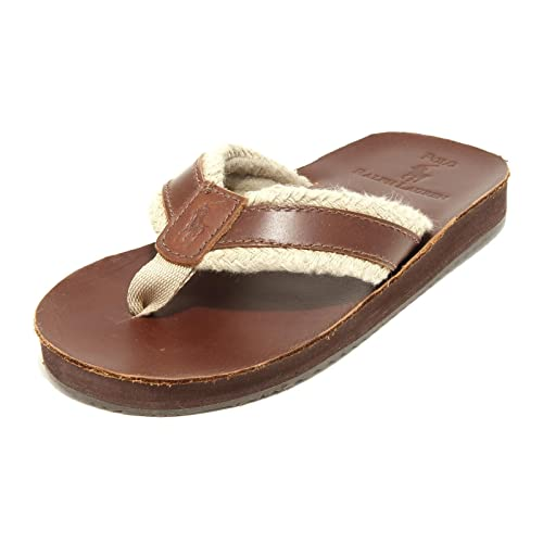 Ralph Lauren 6276G Infradito Bimbo Marrone Polo Child Junior Ciabatta Flips-Flop [28]