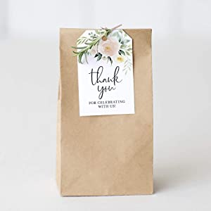 Bliss Collections Blush Floral Favor Thank You Tags — Perfect for: Wedding Favors, Baby Shower, Bridal Shower, Birthday or Special Event — 50 Pack
