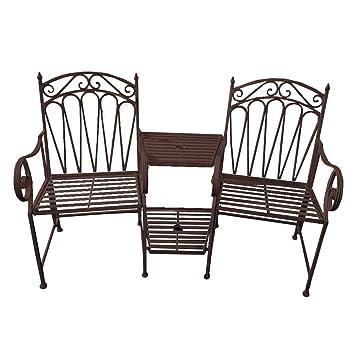VARILANDO® Doppel Gartenbank Aus Metall Sitzbank Metallbank 2 Sitzer  Rost Optik Vintage