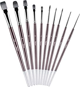 Paint Brushes Set for Acrylic Oil Watercolor, Body and Artist Face Professional Painting Kits with Synthetic Nylon Tips, 10 Pieces Perfect for Artists, Painters, Kids, Students and Beginner - Tdbest