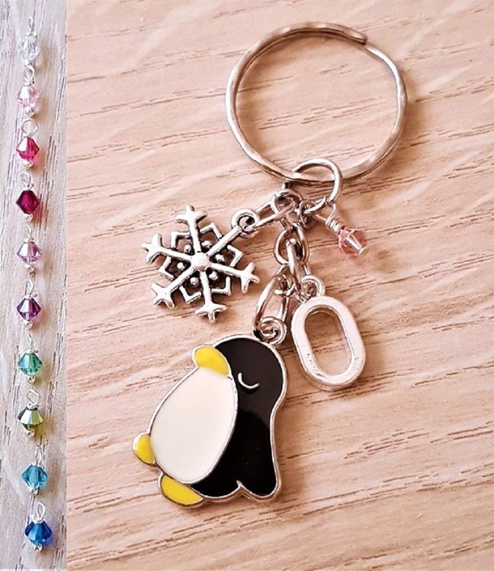 Handmade Personalised Initial Enamel Penguin Keyring Keychain with Genuine Swarovski Crystal