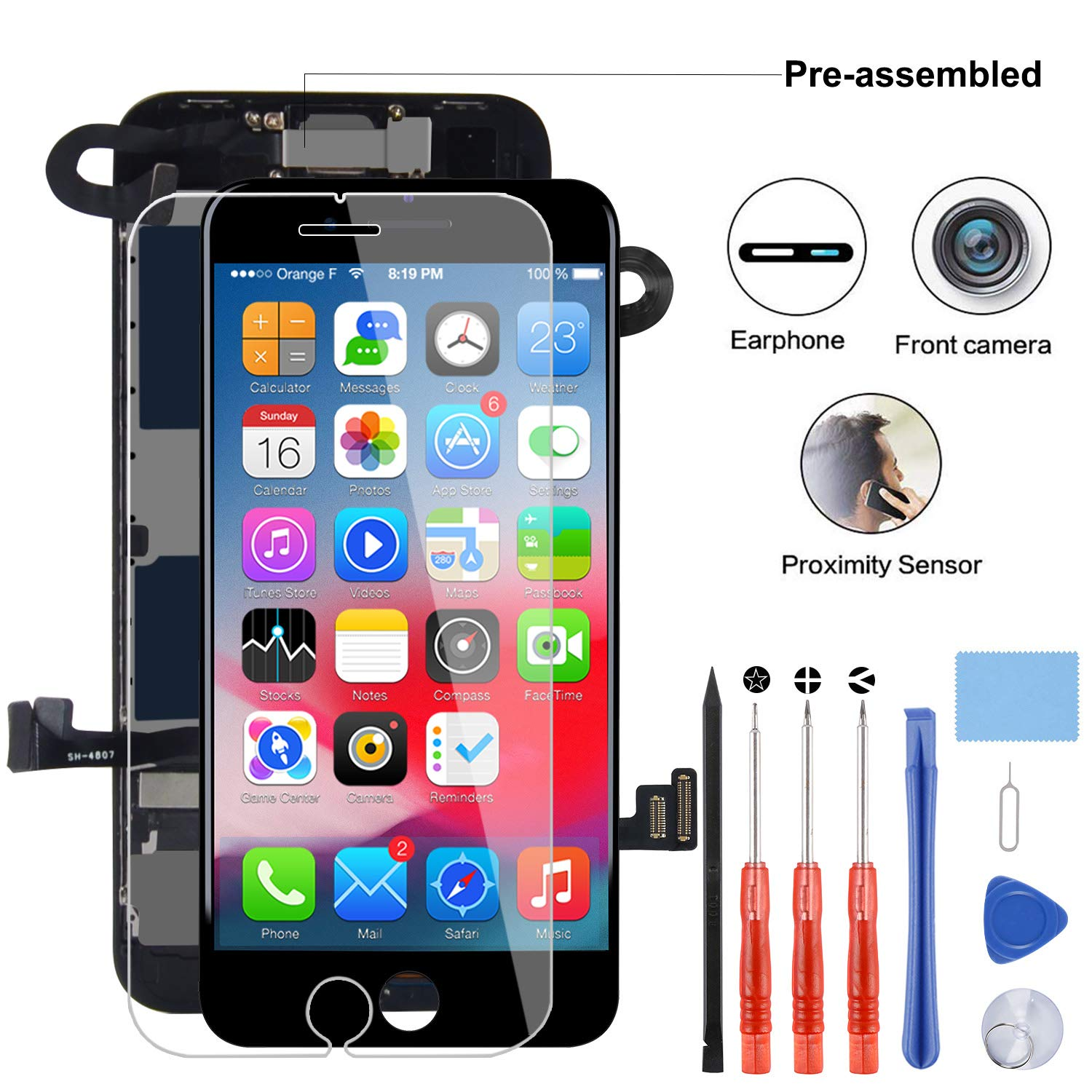 YPLANG Compatible with iPhone 8 Screen Replacement Black(4.7''),LCD Display 3D Touch Screen Digitizer with Proximity Sensor,Front Facing Camera& Earpiece Speaker by YPLANG