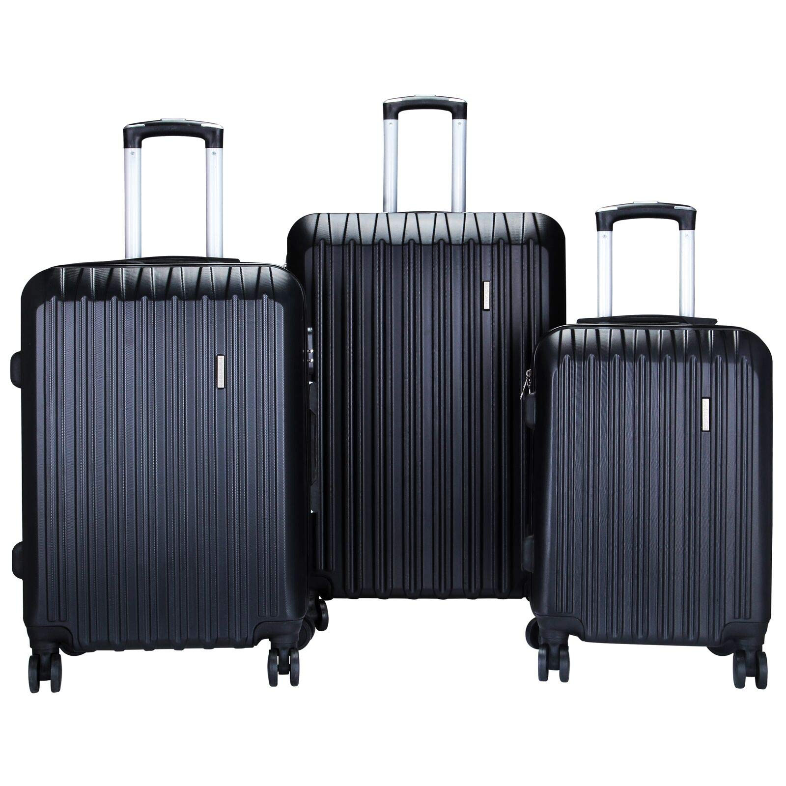 Murtisol 3 Pieces ABS Luggage Sets Hardside Spinner Lightweight Durable Spinner Suitcase 20'' 24'' 28'', 3PCS Black
