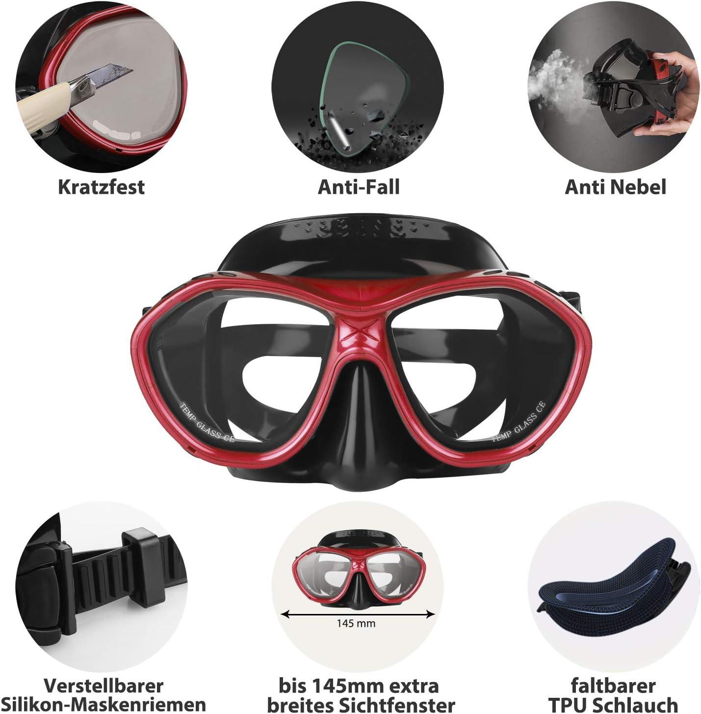 Haberi Masques de Plong/ée Kits de Randonn/ée Aquatique pour Adulte Anti-Vapeur Masque et Tuba de Plong/ée et Anti-Fuite en Verre Tremp/é Anti-bu/ée pour Sports Aquatiques Natation Snorkeling