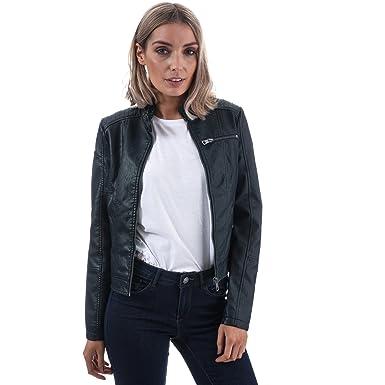 e49a58e9d4df7b Vero Moda Womens Womens Elda Faux Leather Jacket in Dark Blue - 12 ...