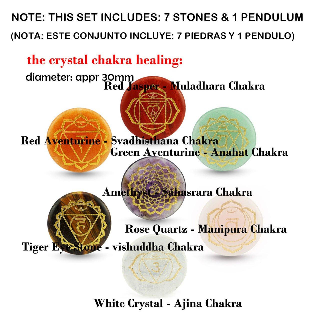 /7/Chakra gestapelt Layered Kristall Dowsing Wahrsagung Pendel /& 7/Gravur Chakren Holistic healthstone Oval Crystal Achat Kit mikini Heilung Schmuck Set/ #1