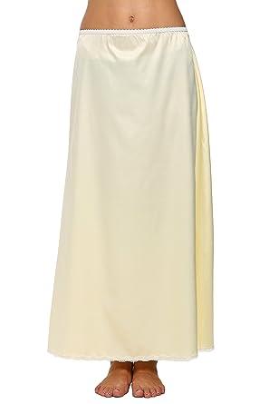 c2b7cbb140dcd Cooshional Women's Long Half Slip Satin Elastic Waist Underskirt Petticoat  with Lace Trim