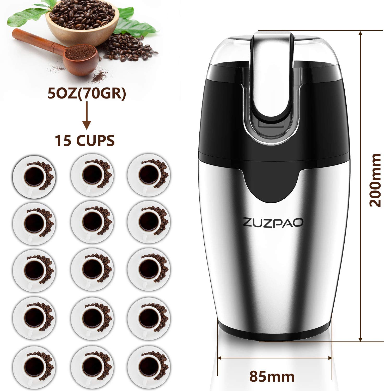 Capacidad de 2,5 Onzas Zuzpao Molinillo de Caf/é El/éctrico Semillas Especias Frutos Secos Molinos de Cuchillas Acero Inoxidable de 200W Potencia Muele R/ápido Viene 70g