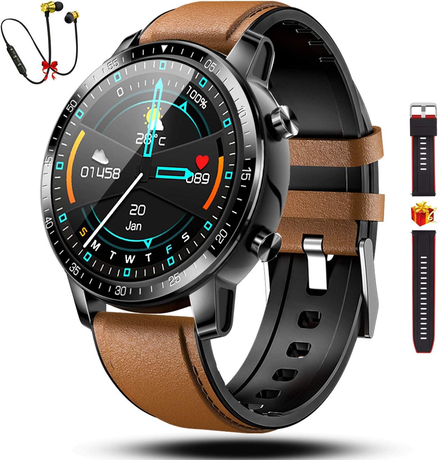 Smartwatch Reloj Inteligente Hombre Mujer Niños Monitor Pulso Cardiaco Pulsera Actividad Reloj Inteligente Cardio Podómetro Bluetooth Reloj Deportivo Impermeable Cronómetro para Android iOS(Marrón)