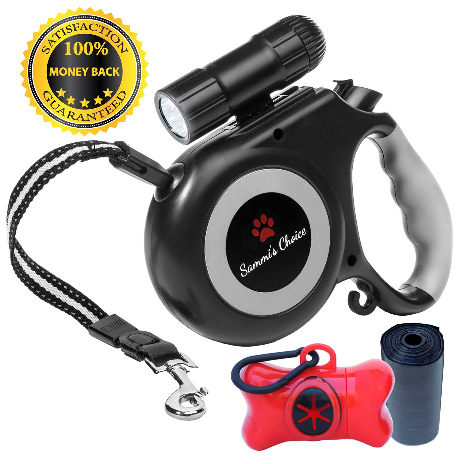 Retractable Dog Leash with Bright Flashlight For Small to Medium Breed Dogs, 16 ft Dog Walking Leash, Tangle Free Reinforced Nylon Cord, Dog Waste Dispenser Included - 100% Guarantee