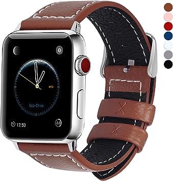 Fullmosa Compatible Bracelet Apple Watch en Cuir 42mm/44mm 38mm/40mm,  Bracelet iWatch Serie 5,4,3,2,1 pour Femme Homme, 42mm/44mm Brun
