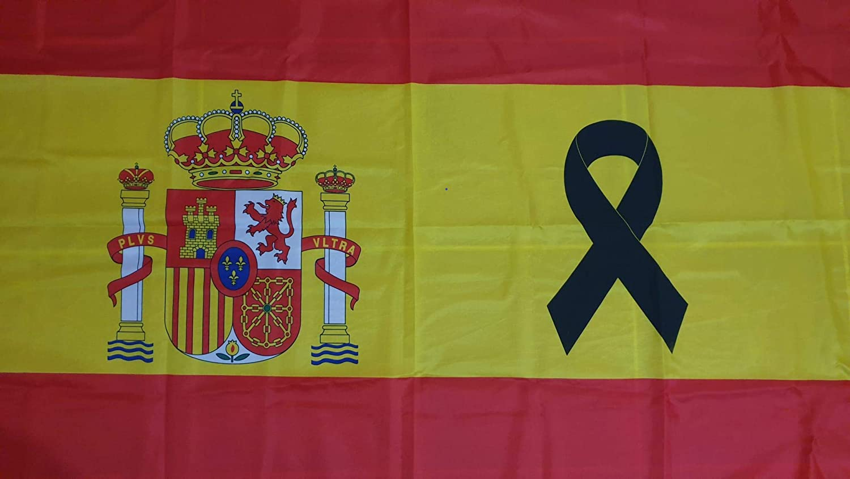 Bandera de España con crespón Negro [150x90cm] Lazo Negro: Amazon ...