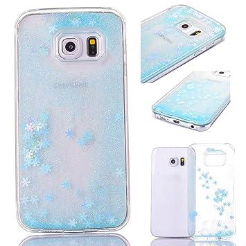 size 40 b102f eab41 Samsung Galaxy S6 Edge Plus Case Liquid,3D Bling Sparkle Shiny Glitter  Liquid Quicksand Flowing Floating Snowflake Transparent Hard Plastic Back  ...