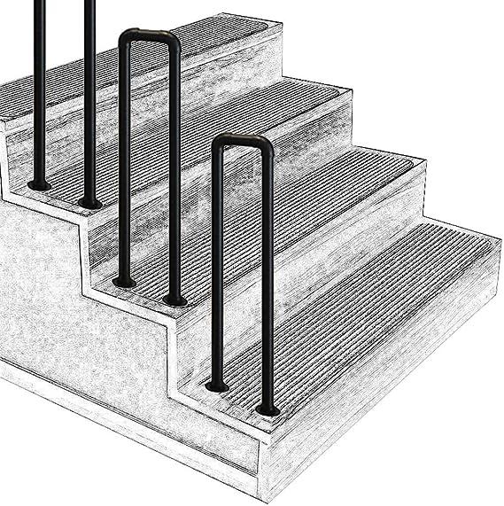 En Forma de U Paso al Aire Libre Pasamanos Parapeto Industrial Tubería de 0.1 pies Barandilla de la Escalera Negro Mate Hierro Forjado Barandilla, con Kit de instalación, Multi-tamaño Opcional: Amazon.es: Hogar