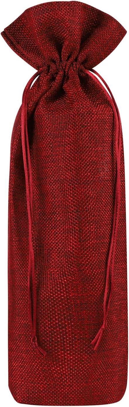 Bolsas de regalo 10 bolsas de vino yute bolsas de regalo con cordón envoltorio de vino monocromático bolsa de vino portátil para botellas de vino vino aceite de oliva champán Oktoberfest Navidad