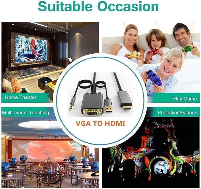 CableDeconn - Cable Adaptador VGA a HDMI con convertidor de Audio para PC Viejo VGA a Nuevo televisor o Monitor con conexión HDMI para computadora de Escritorio, Ordenador portátil, DVD 1,5 m: